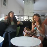 Sabina and friend in Cafe called School