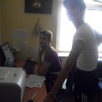 Marco and Filippo printing boarding passes